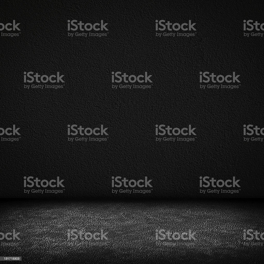 Black dark leather wall and floor interior background stock photo