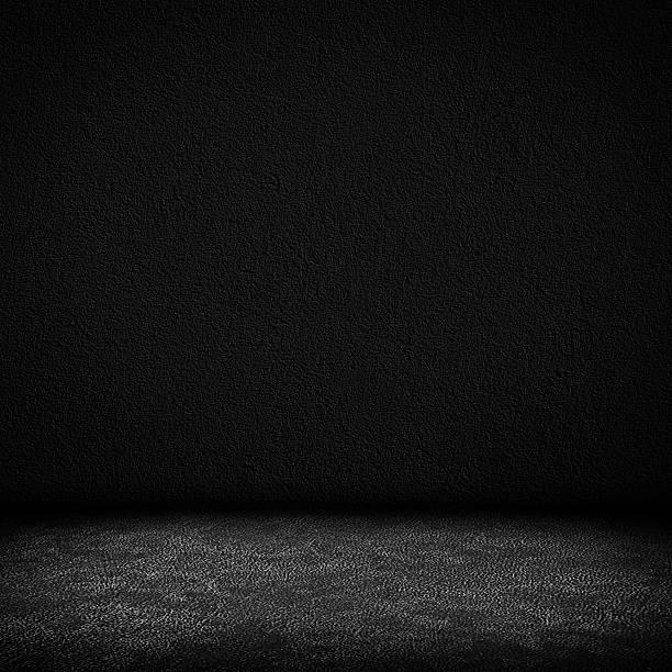 Negro de cuero oscuro fondo de pared y de piso interior - foto de stock