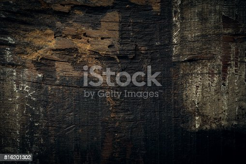 istock black dark wood for halloween background, wooden board rough grain surface texture 816201302
