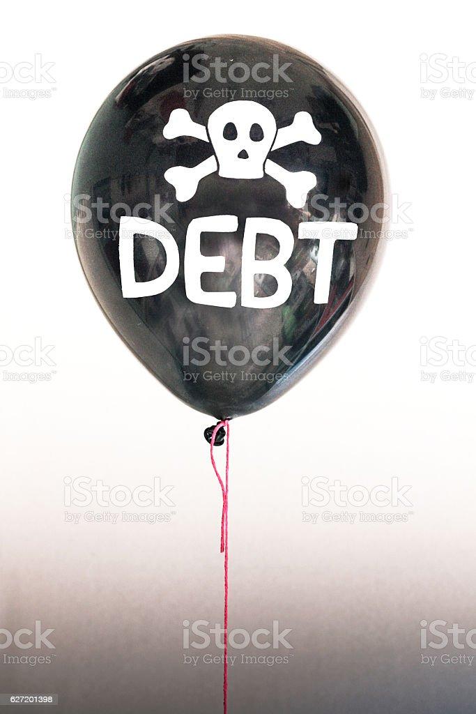 Black debt balloon bubble stock photo