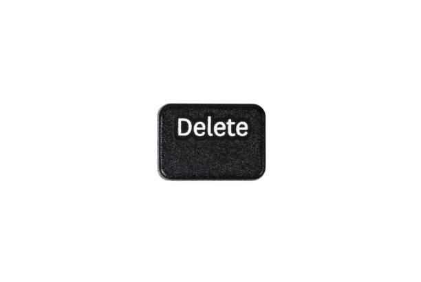 黑色刪除按鈕特寫鏡頭隔離在白色背景 - 電腦按鍵 個照片及圖片檔