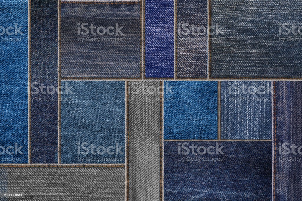 Black denim jeans texture, patchwork denim jean fabric pattern stock photo