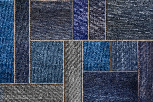black denim jeans texture, patchwork denim jean fabric pattern - pezze di stoffa foto e immagini stock