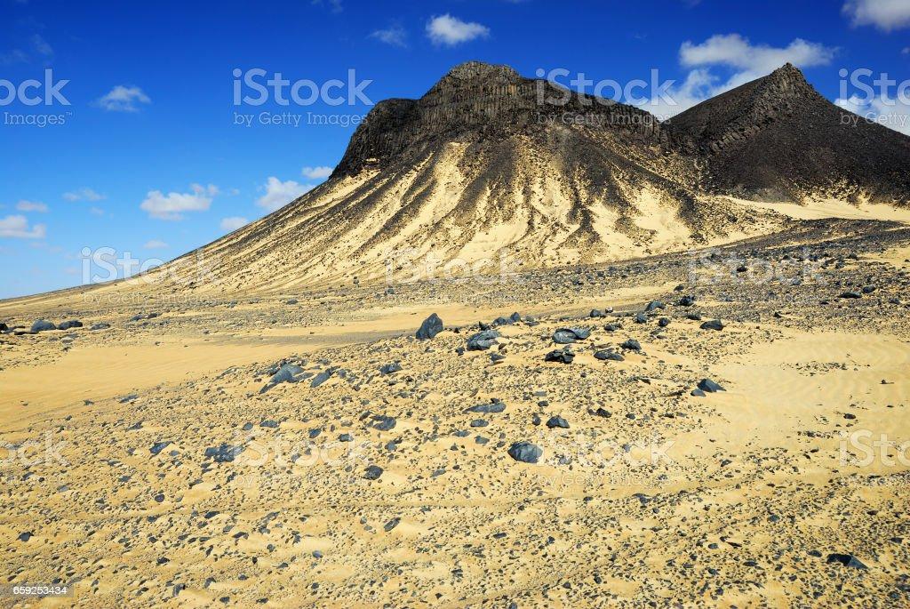 Black desert, Sahara, Egypt stock photo