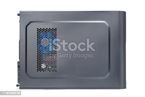 Black desktop computer side view. PC isolated on white, clipping path included