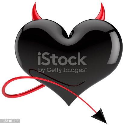 istock Black Devil heart shape failure Love concept 133461122