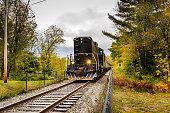 Powerful Black Diesel Locomotive Pulling a Passenger Train in an Autumnal Landscape. Adirondacks, Northern New York