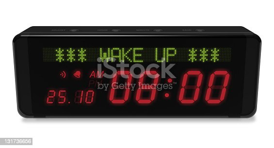 istock A black digital alarm clock on a white background 131736656