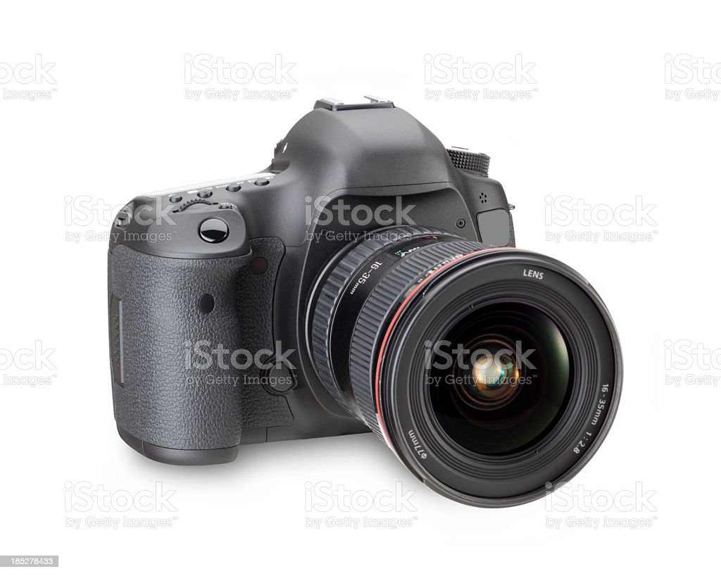 Black digital SLR camera in a white background stock photo