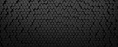 Black digital technological background with steel hexagon cells. 3d abstract illustration of honeycomb structure.