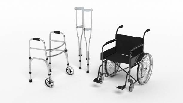 Black disability wheelchair Black disability wheelchair, crutch and metallic walker isolated on white medical equipment stock pictures, royalty-free photos & images