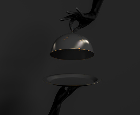 istock Black Dish with lid holding hands isolated on black, opened luxury restaurant cloche, launch time promo banner concept.  3d rendering 1170343670