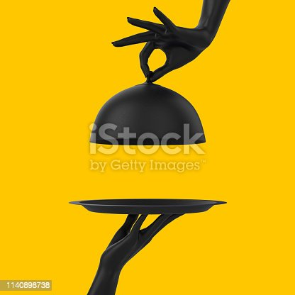 istock Black Dish with lid holding hands isolated on yellow, opened restaurant cloche, launch time promo banner concept.  3d rendering 1140898738