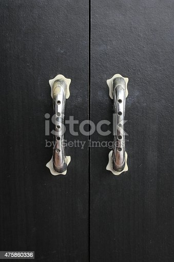 Black door closet close up