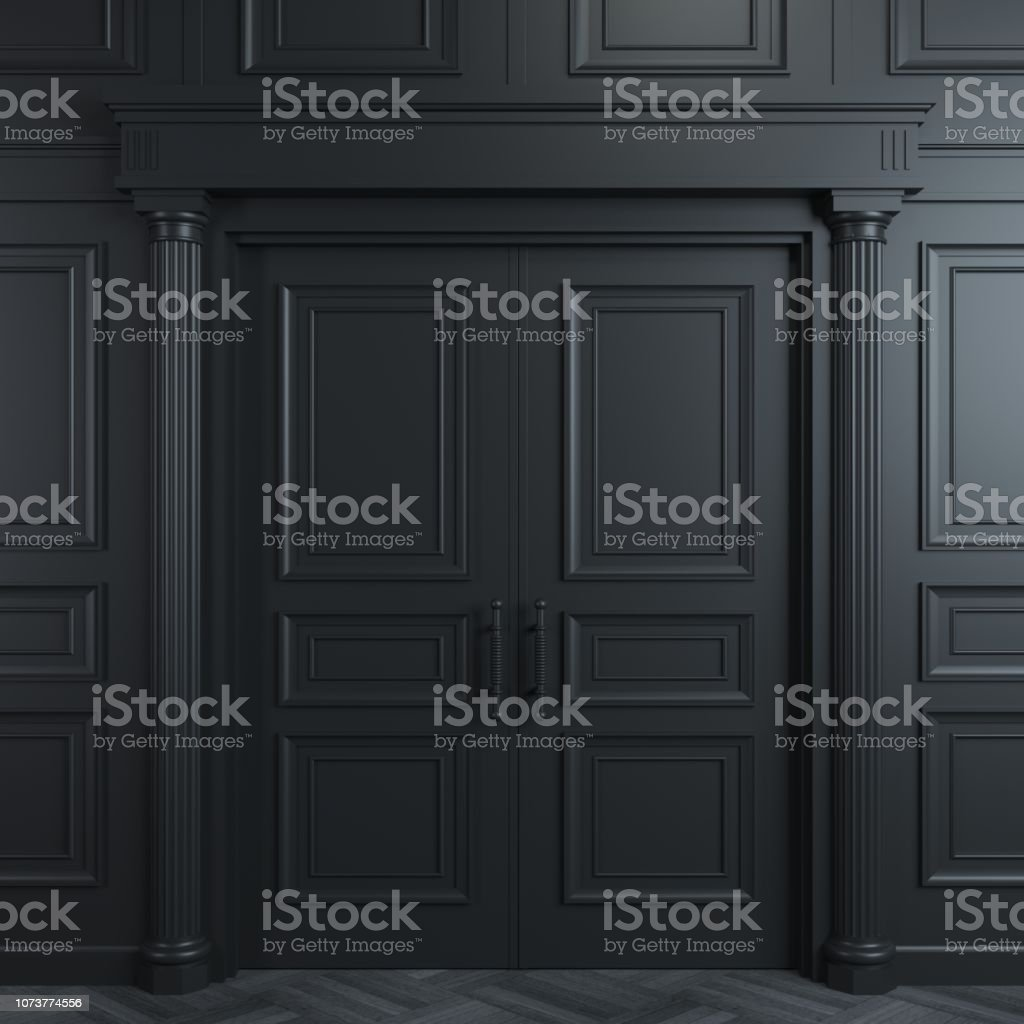 Black double classic door foto stock royalty-free