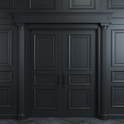 istock Black double classic door 1073774556