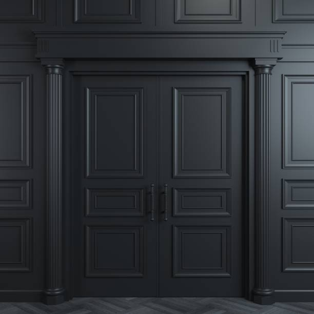 Black double classic door 3 d illustration. Closed classic black doors with carvings. Interior Design. Background grace stock pictures, royalty-free photos & images
