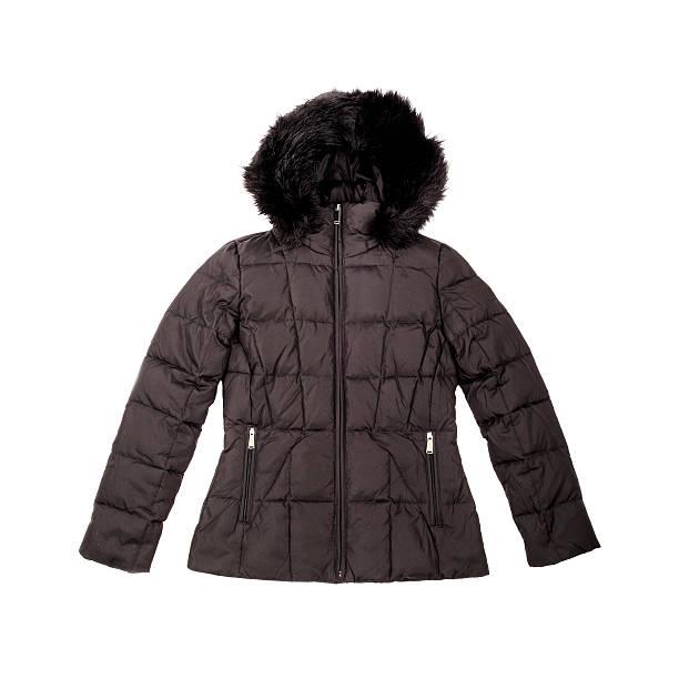 ブラックのダウン入り冬のコート - ダウンジャケット ストックフォトと画像