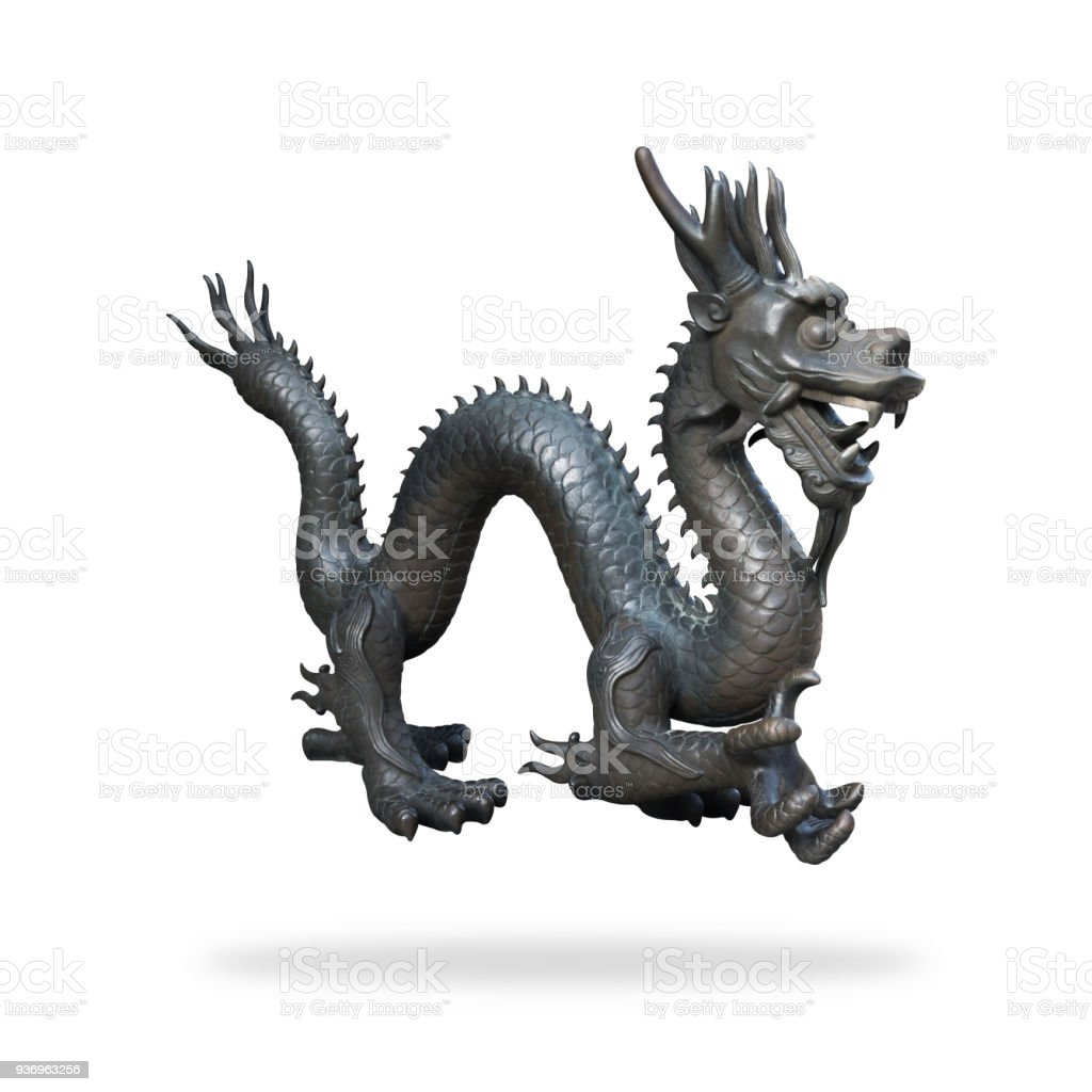 Black dragon statue on isolated background with clipping path. Chinese new year powerful symbol. stock photo