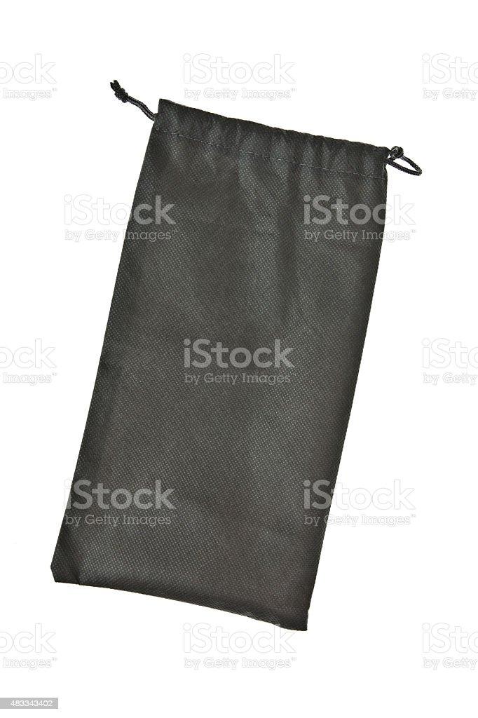 Black drawstring Bag isolated on white background stock photo