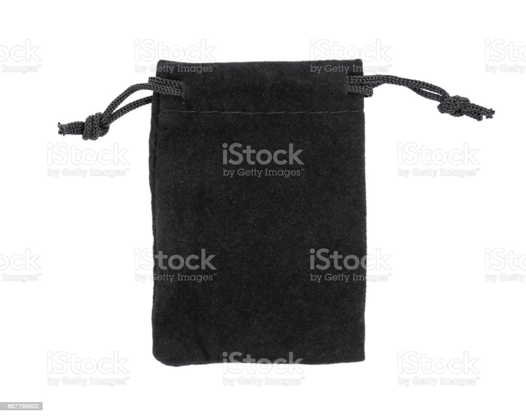 Black drawstring bag packaging isolated on white background.Drawstring bag isolated stock photo
