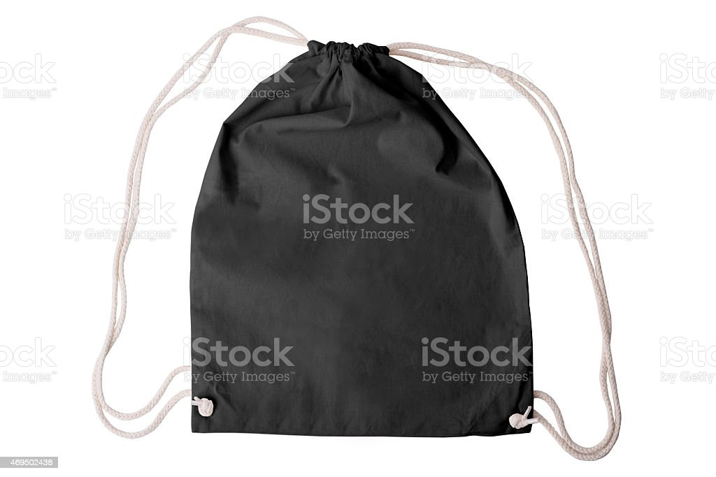 Black draw-string pack template stock photo