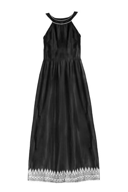 schwarzes kleid isoliert - spitzen maxi stock-fotos und bilder