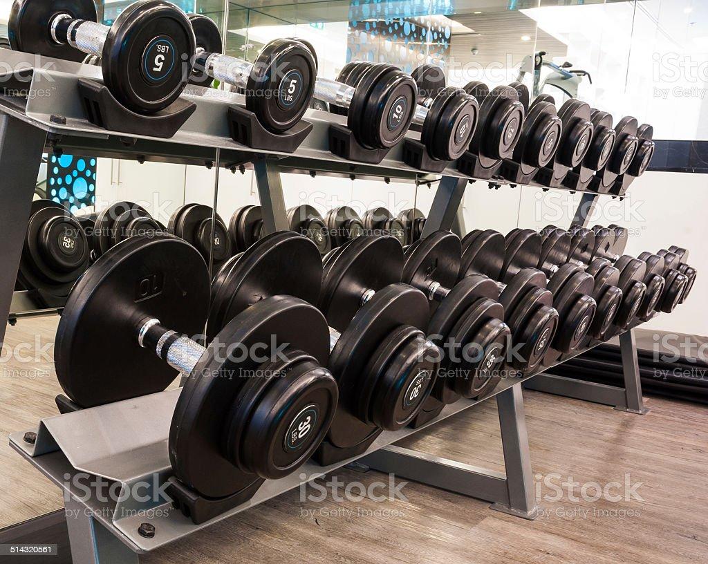 black dumbbell in fitness stock photo