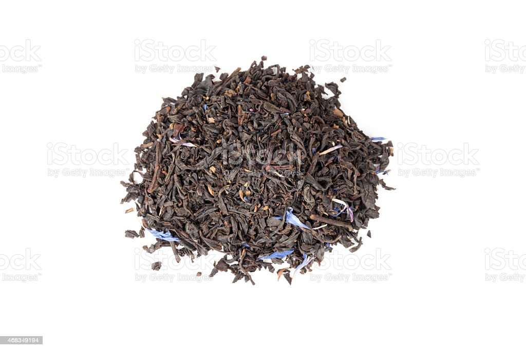 Black Earl Grey tea isolated on white, top view royalty-free stock photo