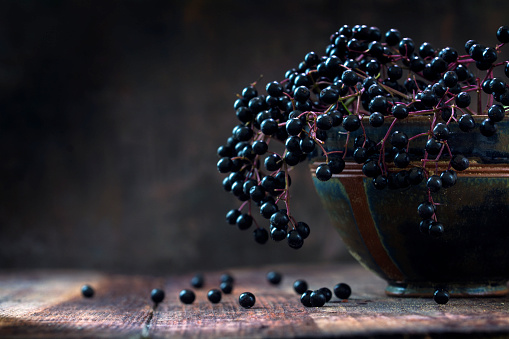 istock Black elderberries (Sambucus nigra) in a bowl, dark rustic wood 599710956