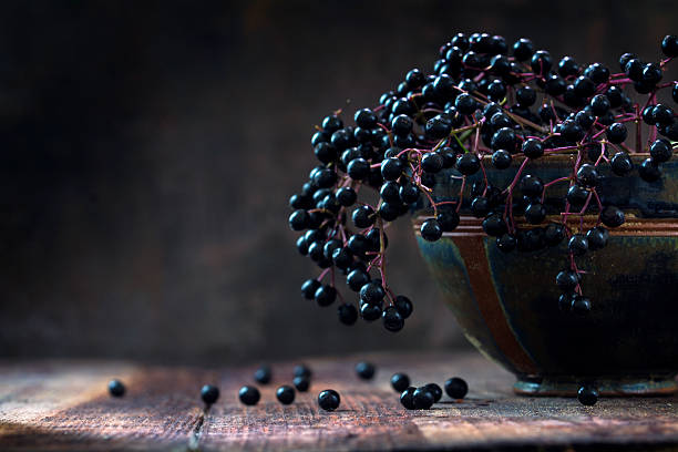 black elderberries (sambucus nigra) in a bowl, dark rustic wood - nature morte photos et images de collection
