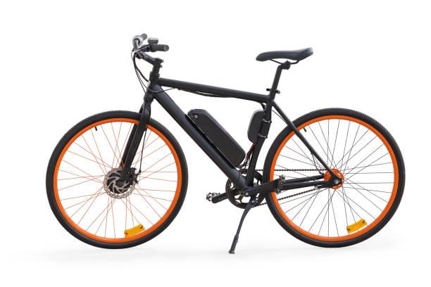schwarz e-bike mit beschneidungspfad isoliert - elektrorad stock-fotos und bilder