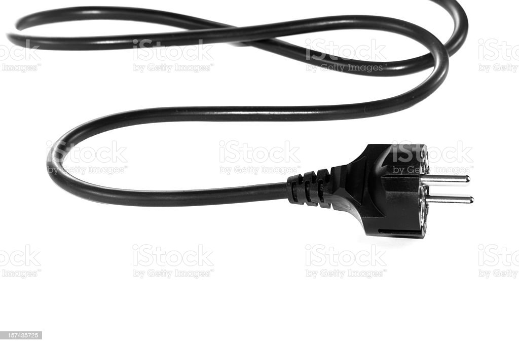 Black electric cable isolated on white background stock photo
