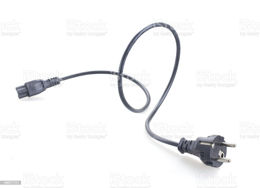 black electric cable with plug stock photo