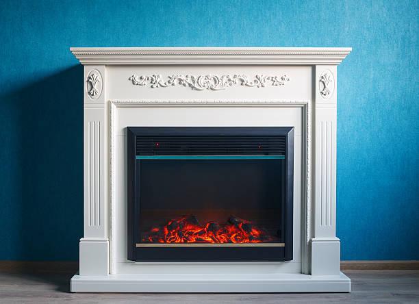 black electric fireplace - kamin weiß stock-fotos und bilder