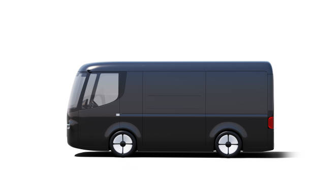 black electric self-driving van for branding