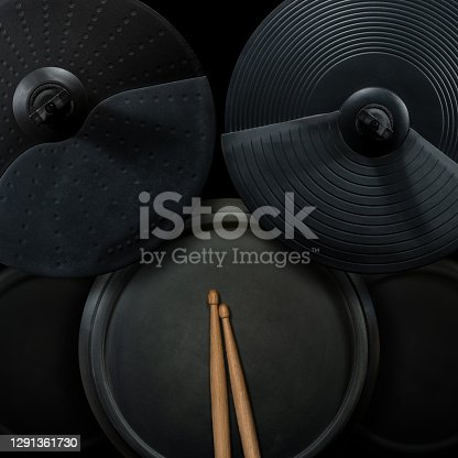 istock Black Electronic Drum Kit and Wooden Drumsticks 1291361730