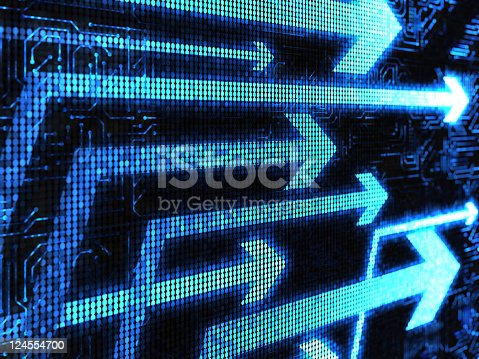 istock A black electronic screen with blue arrows pointing right 124554700