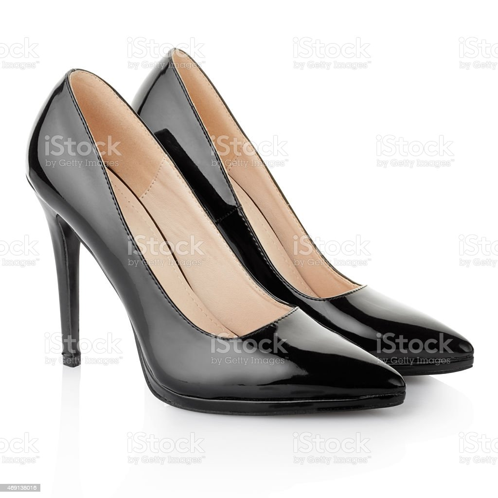 Black elegant shoes for woman stock photo