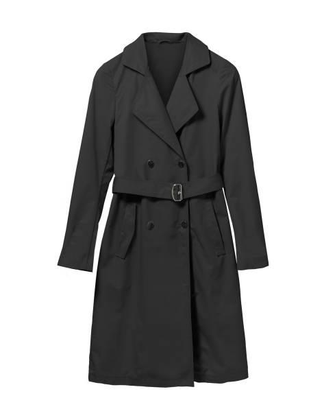 Black elegant woman autumn coat isolated white - foto stock
