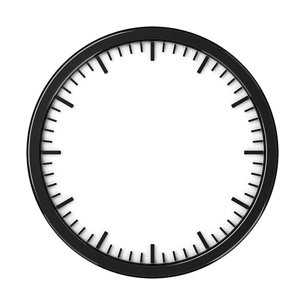 Black empty clock without arrows stock photo
