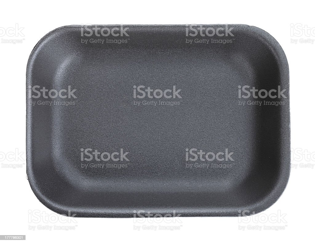 Black empty food tray stock photo