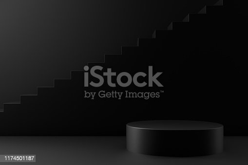 istock 3D Black Empty Product Stand, Platform, Podium with Staircase, Minimal Design 1174501187