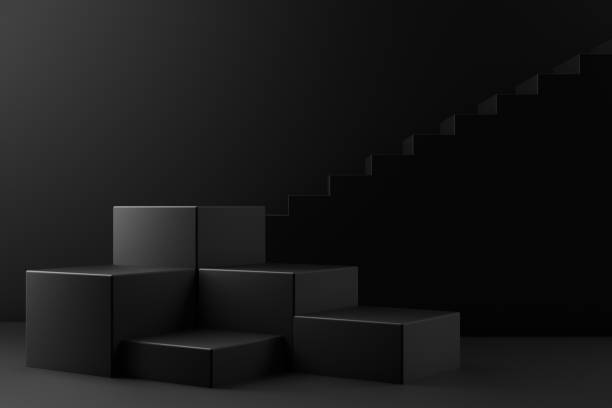 3D Black Empty Product Stand, Platform, Podium with Staircase, Minimal Design stock photo
