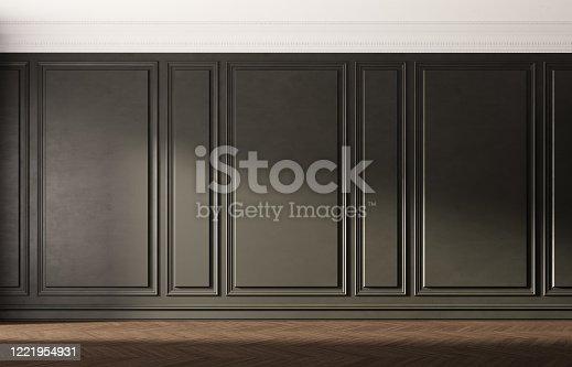 847138534 istock photo Black empty room with old wooden floor. Classic interior design. 1221954931