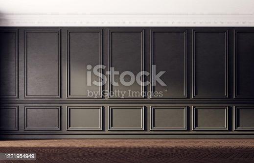 847138534 istock photo Black empty room with old wooden floor. Classic interior design. 1221954949