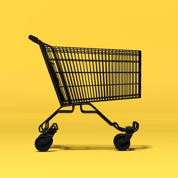 siyah boş alışveriş sepeti - sepet stok fotoğraflar ve resimler