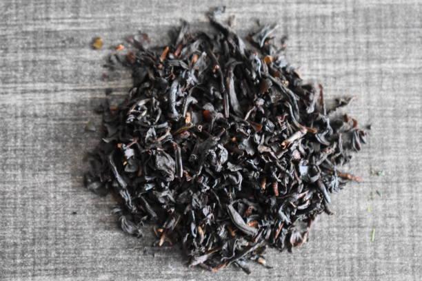 블랙 잉글리시 브렉퍼스트 차 잎 - 배경으로 사용할 수 있습니다. 스톡 사진