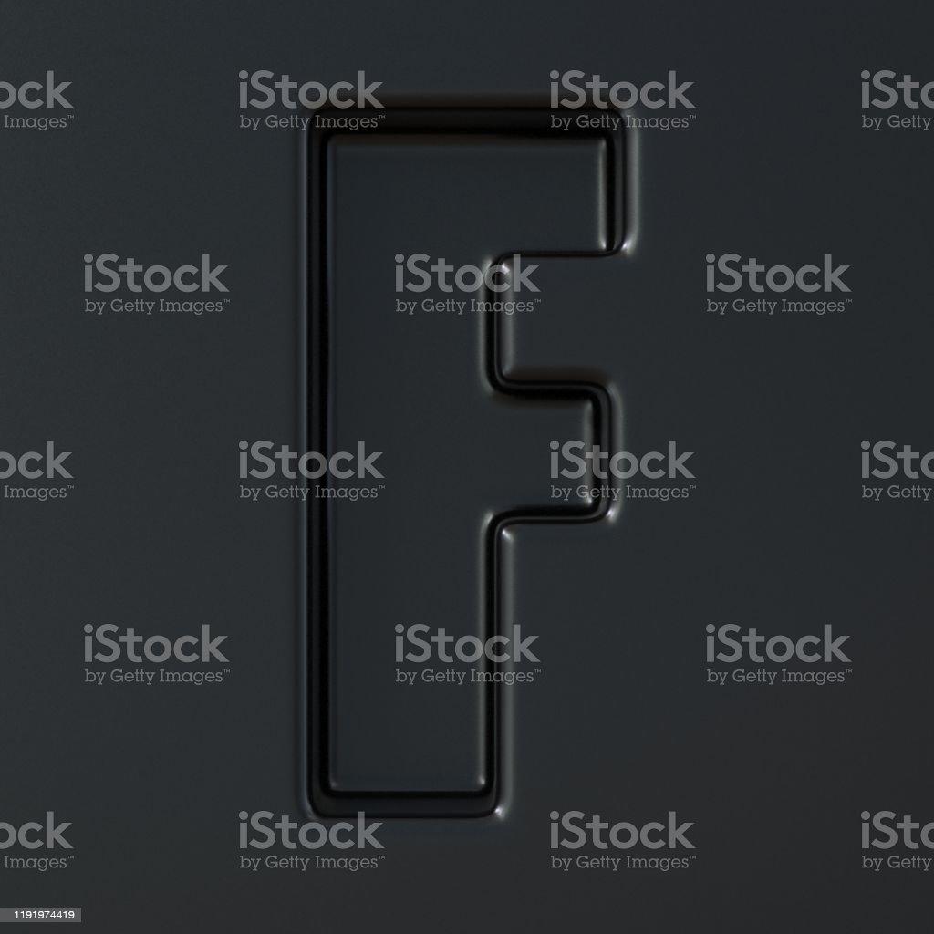 Svart graverade Font bokstaven F 3D - Royaltyfri Abstrakt Bildbanksbilder