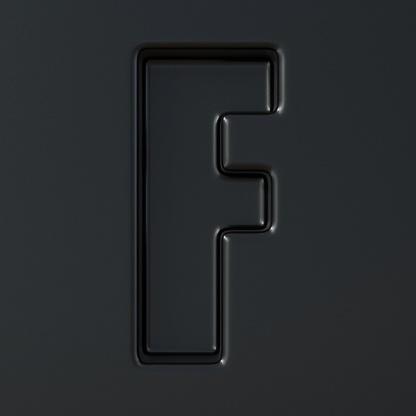 Svart Graverade Font Bokstaven F 3d-foton och fler bilder på Abstrakt